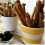 Bread sticks with blacks olives